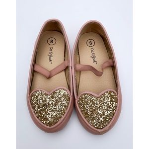 Cat & Jack pink and gold glitter heart shoes